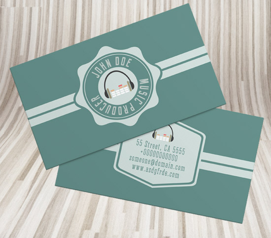 free simple retro style dj business card psd template